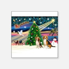 "Xmas Magic & Beagle pair Square Sticker 3"" x 3"""