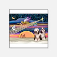 """Xmas Star & Beardie pair Square Sticker 3"""" x 3"""""""