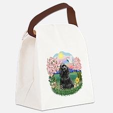 Blossoms-BlackCocker.png Canvas Lunch Bag