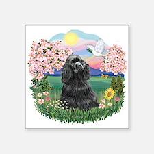 "Blossoms-BlackCocker.png Square Sticker 3"" x 3"""