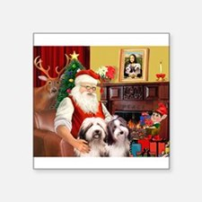 "Santa's Beardie pair Square Sticker 3"" x 3"""