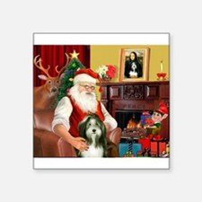 "Santa's Bearded Collie Square Sticker 3"" x 3"""