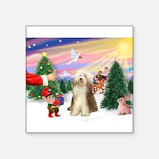 "Santa's treat /Beardie Square Sticker 3"" x 3"""