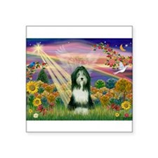 "Autumn Angel / Bearded Collie Square Sticker 3"" x"