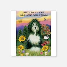 "Free Your Hair... Beardie Square Sticker 3"" x 3"""