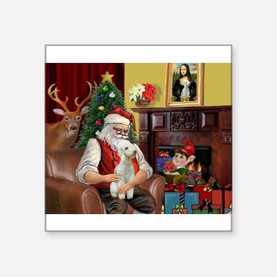 "Santa's Bedlington Square Sticker 3"" x 3"""