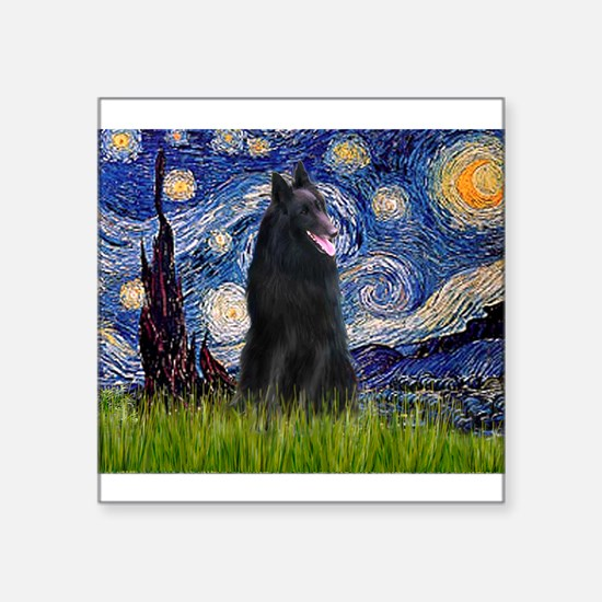 "Cute Belgian sheepdog Square Sticker 3"" x 3"""