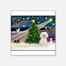 """Xmas Magic & Bichon #2 Square Sticker 3"""" x 3"""""""