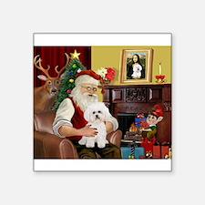 "Santa's Bichon Frise Square Sticker 3"" x 3"""