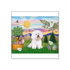 "Easter Bichon Frise Square Sticker 3"" x 3"""