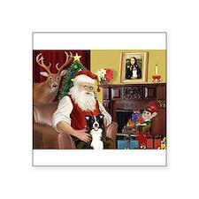 """Santa's Border Collie Square Sticker 3"""" x 3"""""""