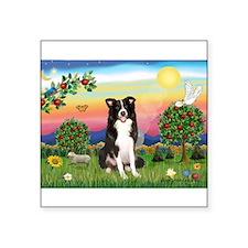 """Bright Country/Border Collie Square Sticker 3"""" x 3"""