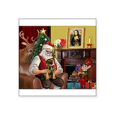 "Santa's Border Terrier Square Sticker 3"" x 3"""
