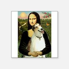"""Mona & her Borzoi Square Sticker 3"""" x 3"""""""