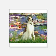 "Borzoi in Monet's Lilies Square Sticker 3"" x 3"""