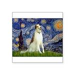 Starry Night & Borzoi Square Sticker 3