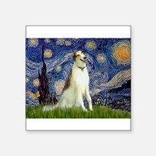 "Starry Night & Borzoi Square Sticker 3"" x 3"""