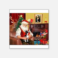 "Santa's Boston Terrier Square Sticker 3"" x 3"""