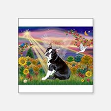 Boston Terrier and Autumn Angel Square Sticker 3""