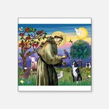 "St Francis & Boston Terrier Square Sticker 3"" x 3"""