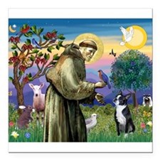 "St Francis & Boston Terrier Square Car Magnet 3"" x"