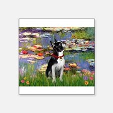 "Boston Terrier 2 - Lilies #2 Square Sticker 3"" x 3"