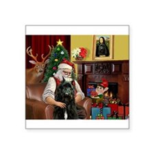 """Santa's Bouvier Square Sticker 3"""" x 3"""""""