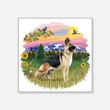 "MtCountry-GermanShep13.png Square Sticker 3"" x 3"""