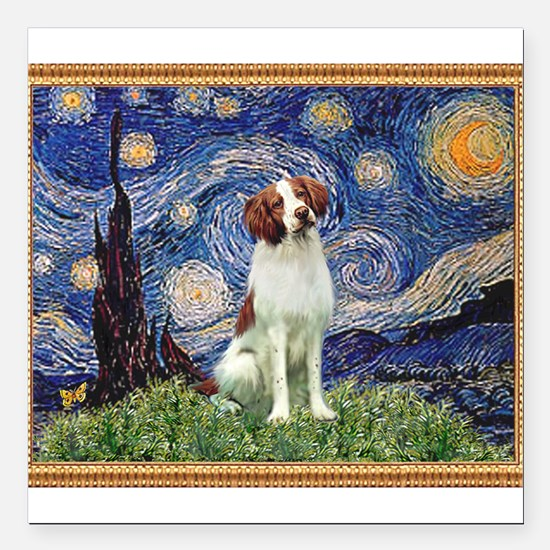 """Starry Night/Brittany Square Car Magnet 3"""" x 3"""""""