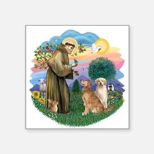 """StFrancis-ff-Two Goldens.png Square Sticker 3"""" x 3"""