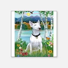 """Birches / Bull Terrier Square Sticker 3"""" x 3&"""