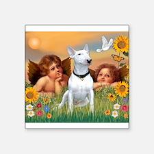 "Cherubs / Bull Terrier Square Sticker 3"" x 3"""
