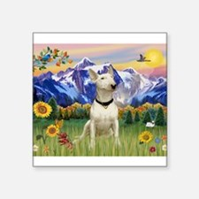 """Mt Country/Bull Terrier Square Sticker 3"""" x 3"""""""