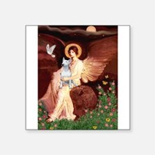 """Seated Angel/Bull T Square Sticker 3"""" x 3"""""""
