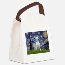 Starry Night/Bull Terrier Canvas Lunch Bag
