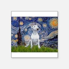 "Starry Night/Bull Terrier Square Sticker 3"" x"
