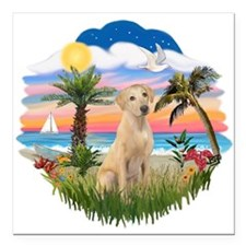 """Palms - Yellow Lab 13.png Square Car Magnet 3"""" x 3"""