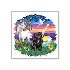 "Magical Night - Black Pug 14.png Square Sticker 3"""