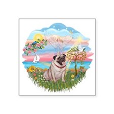 "AngelStar - Fawn Pug 2.png Square Sticker 3"" x 3"""