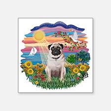 "Autumn Sun - Fawn Pug 4.png Square Sticker 3"" x 3"""