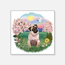 """Blossoms - Fawn Pug 5.png Square Sticker 3"""" x 3"""""""