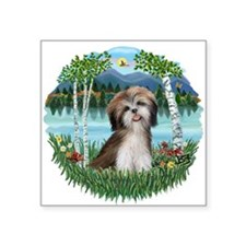 "Birches-ShihTzu2.png Square Sticker 3"" x 3"""
