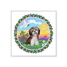 Wreath1-ShihTzu2-brown-white.png Square Sticker 3""