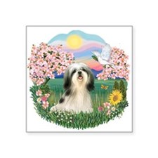 "Blossoms - Shih Tzu 3.png Square Sticker 3"" x 3"""