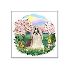 """Blossoms-ShihTzu10.png Square Sticker 3"""" x 3"""""""