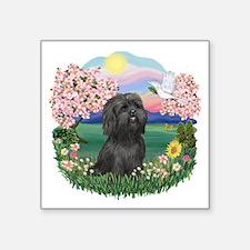 "Blossoms-Black Shih Tzu.png Square Sticker 3"" x 3"""