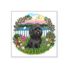 "Garden-Shore-BlackShih Tzu.png Square Sticker 3"" x"