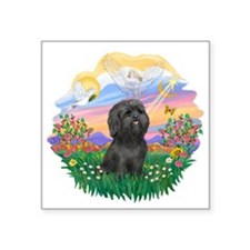 "Guardian-Black Shih Tzu.png Square Sticker 3"" x 3"""