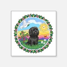 """Wreath1-Black Shih Tzu.png Square Sticker 3"""" x 3"""""""