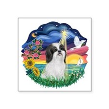 StarWish-ShihTzu-Black-white.png Square Sticker 3""